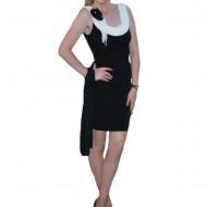 Rochie rafinata, conica, culoare negru-alb RO-357-AL