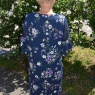 Rochie rafinata ,croi lejer cu imprimeu floral , culoare bleumarin