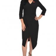 Rochie rafinata Mila cu crepeu in fata,model asimetric,nuanta de negru