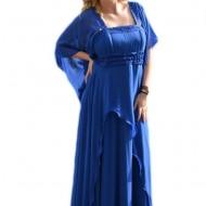 Rochie superba de gala, pe un albastru regal, cu design modern