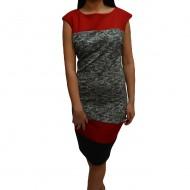 Rochie tinereasca cu design de dungi multicolore si croi cambrat