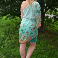 Rochie tinereasca de culoare turcoaz, model cu o maneca larga