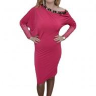 Rochie tinereasca, nuanta de roz, pietre fashion aplicate