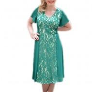 Rochie verde de ocazie, masura mare, cu insertie de dantela