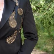 Sacou negru din saten, clasic, cu model de paiete aplicate