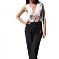 Salopeta fashion de ocazie, culoare negru-alb