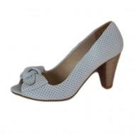 Sanda alba tip pantof cu varf decupat si insertie de funda mare