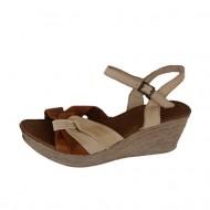 Sandale bej, cu talpa ortopedica, cu accente maro, din piele naturala
