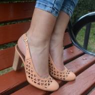 Sandale clasice, cu toc inalt, piele naturala, perforate
