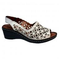 Sandale cu platforma albe cu model de perforatii