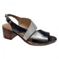 Sandale cu toc mediu,nuanat argintiu-alb