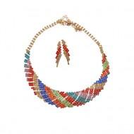 Set elegant de bijuteri,colier oval si cercei,multicolor