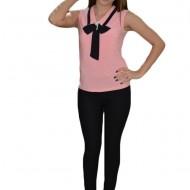 Top elegant de culoare roz pudra cu model de guler ascutit