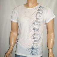 Tricou barbatesc, pe nuanta gri, cu imprimeu gri tip litere