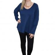 Bluza albastra, masura mare, cu aspect tricotat si maneca lunga