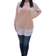 Bluza Ava casual-buusiness cu tricot din catifea ,nuanta de pudra