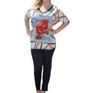 Bluza casual cu imprimeu modern 3D in fata, masura universala