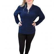Bluza casual , de culoare bleumarin, cu inserti de dantela