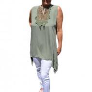 Bluza casual,de vara fara maneca ,nuanta de kaki