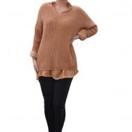 Bluza casual Ioana din tricot cu guleer,nuanta de maro