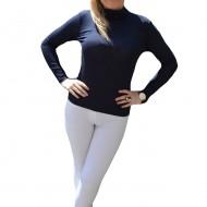 Bluza casual, nuanta de bleumarin, maneca lunga, material elastic