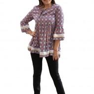 Bluza chic cu croi lejer, de primavara-vara, cu imprimeu multicolor