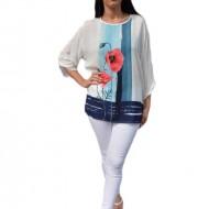 Bluza cu maneca trei sferturi, culoare alb-bleumarin
