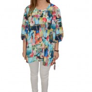 Bluza dama, casual, model vintage multicolor, maneci-trei sferturi