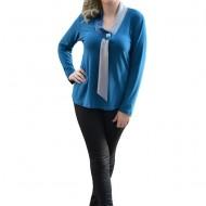 Bluza de ocazie, de culoare albastra cu maneca lunga