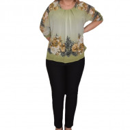 Bluza de ocazie din material tip voal ,verde cu imprimeu floral