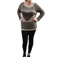 Bluza de toamna, tricotata, nuanta de maro-bej, cu imprimeu
