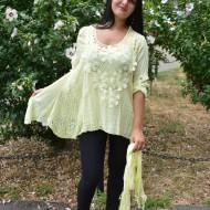 Bluza de vara cu broderie eleganta si croi asimetric, galben pastel