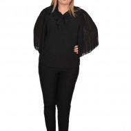 Bluza eleganta Genna din voal cu insertii fine de margele si broderie,negru
