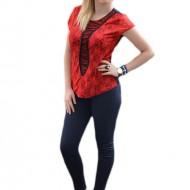 Bluza feminina cu aspect elegant din dantela rosie si tul negru