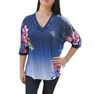 Bluza lejera cu maneca trei-sfert, design floral pe fond bleumarin