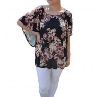Bluza lejera Mira cu imprimeu floral,motive mini rose si decupaj la umeri,nuanta de negru