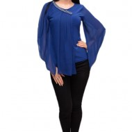 Bluza moderna cu maneci largi si insertii de voal, nuanta albastra