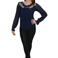 Bluza moderna de ocazie, culoare bleumarin, cu voal plisat