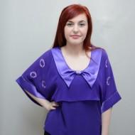 Bluza moderna de ocazie, nuanta mov, cu maneca trei-sferturi