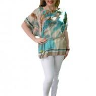 Bluza moderna, tinereasca, nuanta bej-turcoaz, cu maneci largi