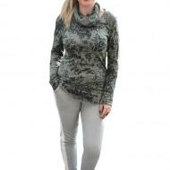 Bluza moderna tip sport din bumbac, culoare verde cu imprimeu
