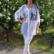 Bluza oversize cu buzunar din blugi si dungi fine, alb-bleumarin