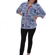 Bluza oversize cu nasturi in fata, alb-bleumarin-rosu, masura mare