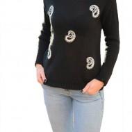 Bluza rafinata de toamna, cu imprimeu paisley, alb pe fond negru