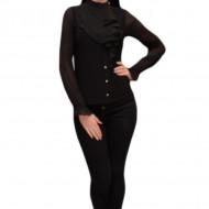 Bluza trendy cu design de volane si nasturi fini, nuanta neagra
