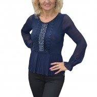 Bluza trendy cu strasuri si pliseuri mici, de nuanta bleumarin