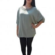 Bluza usoara de vara, culoare verde inchis, maneca scurta