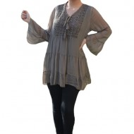 Bluza vaporoasa Alia cu insertii de broderie si paiete la decolteu,nuanta de crem