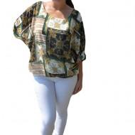 Bluza vaporoasa Melinda, cu imprimeu vintage, motive chains, pe fond alb