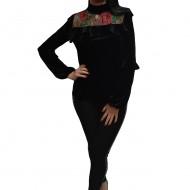 Bluza vintage din catifea neagra cu design floral lucrat manual
